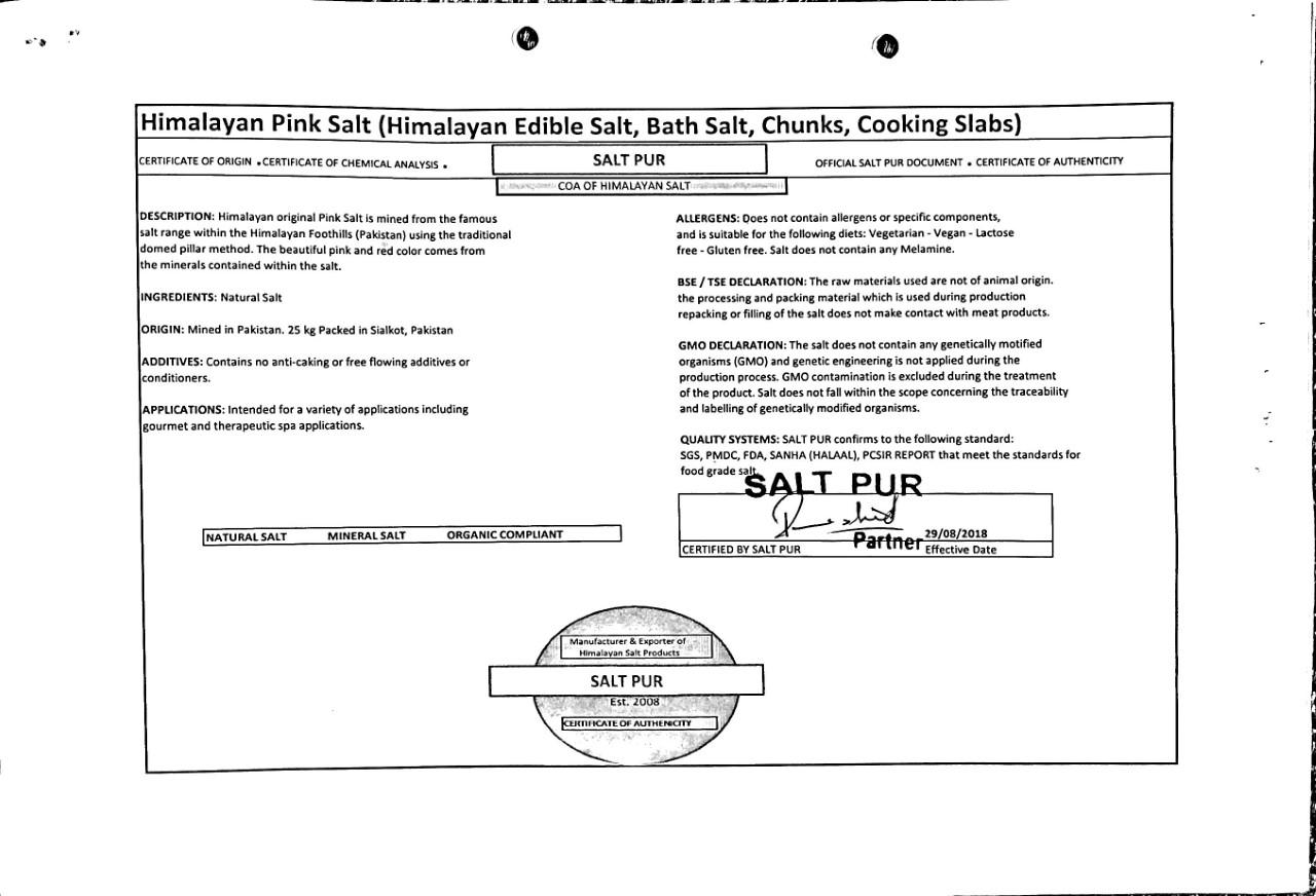 COA SALTPUR certificate - Saltpur Himalayan Salts