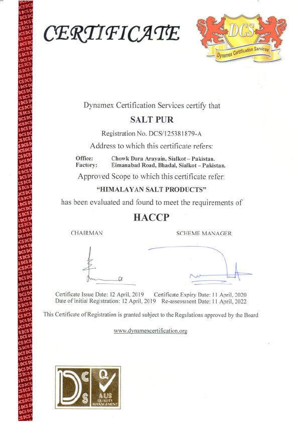 HACCP Saltpur 1 - Saltpur Himalayan Salts