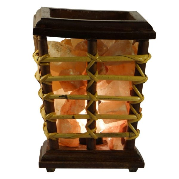 Himalayan Salt Cane Wooden Box Lamp - Saltpur Himalayan Salts