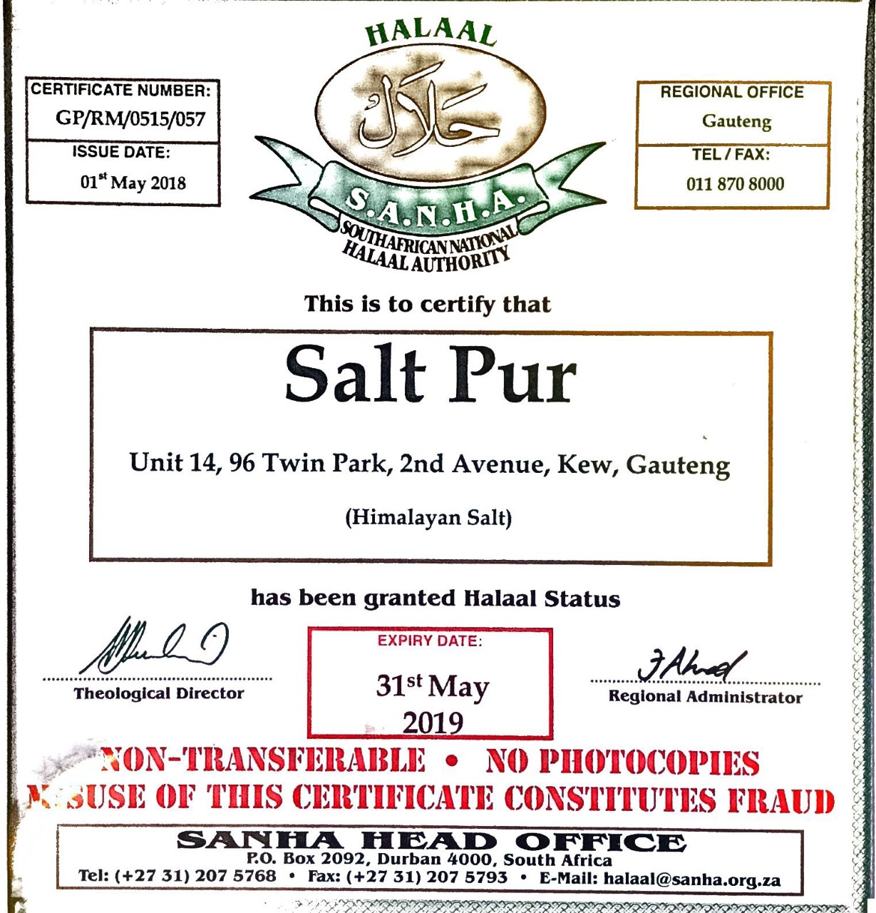 SANHA Halaal Certificate Saltpur - Saltpur Himalayan Salts