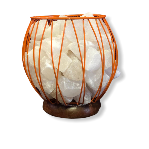 Wrought Iron Color Basket Salt Lamp Orange - Saltpur Himalayan Salts