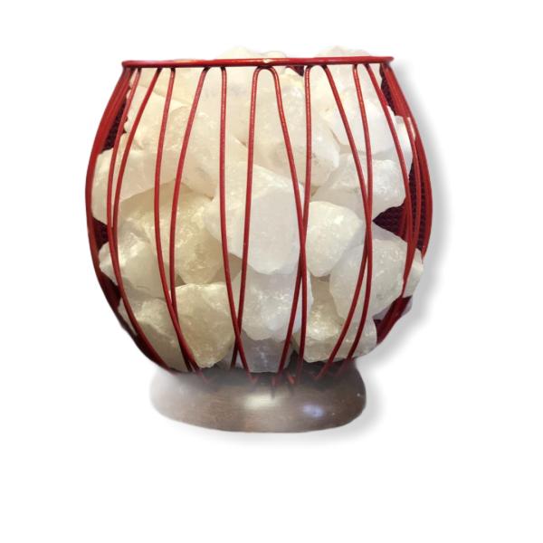 Wrought Iron Color Basket Salt Lamp Red - Saltpur Himalayan Salts