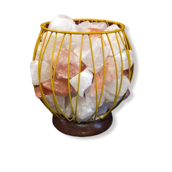 Wrought Iron Color Basket Salt Lamp Yellow - Saltpur Himalayan Salts