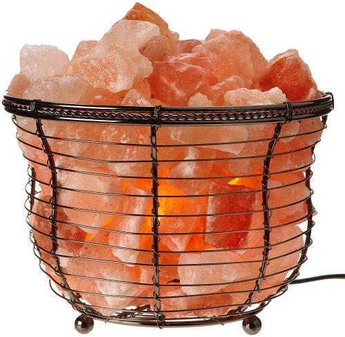 Wrought Iron Salt Lamp Round Basket - Saltpur Himalayan Salts