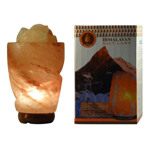 Himalayan Rose Petal Salt Lamp with Salt Crystals - Saltpur Himalayan Salts